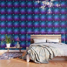 Glitter Galaxy Stars : Turquoise Blue Purple Hot Pink Ombre Wallpaper