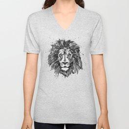 Black and White Lion Head Unisex V-Neck