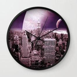 New New York : Galaxy City Dark Mauve Wall Clock