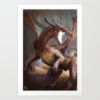 smaug Art Prints featuring Smaug by MATT DEMINO