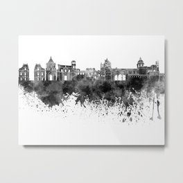 Palermo skyline in black watercolor on white background Metal Print
