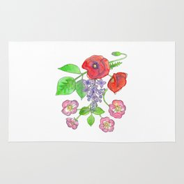 Wild Poppies, Lilacs, and Roses Rug