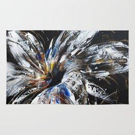 white flower on black background, painted Rug