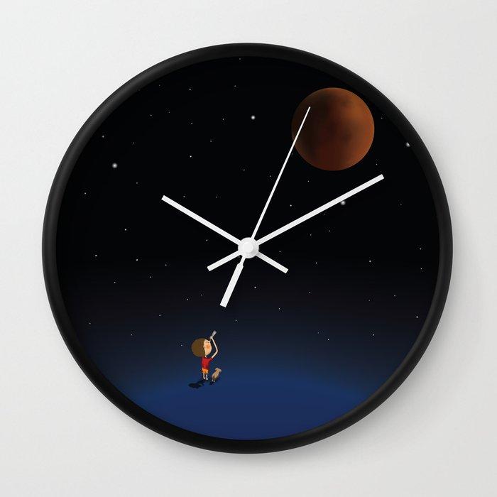 The Red Moon Wall Clock By Deeptimunshaw Society6