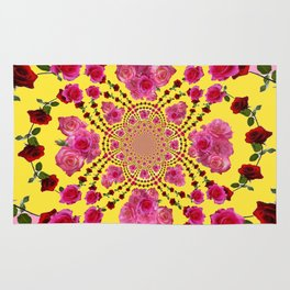 PINK-RED ROSES ON YELLOW-PINK ART Rug