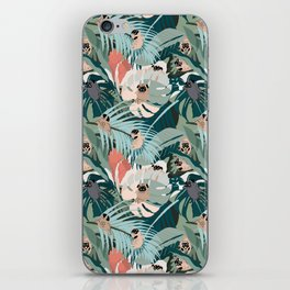 Pugs and Tropical Plants iPhone Skin