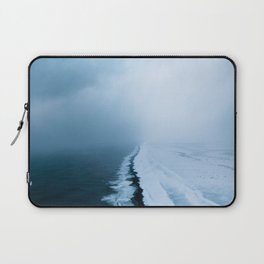 Infinite and minimal black sand beach in Iceland - Landscape Photography Laptop Sleeve