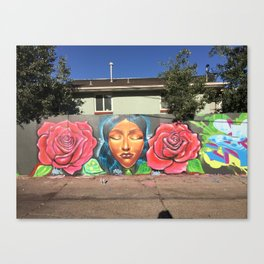 Roses and Face Canvas Print