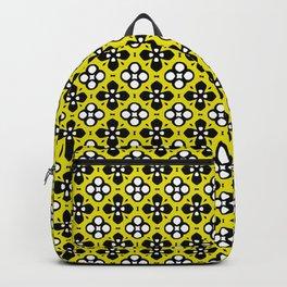Ornate Yellow & Black Flower Pattern Backpack