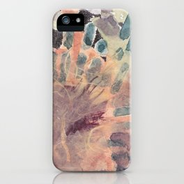 collage with watercolor, pen, and fabric iPhone Case