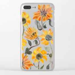 Sunflower Watercolor – Yellow & Black Palette Clear iPhone Case