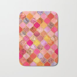Hot Pink, Gold, Tangerine & Taupe Decorative Moroccan Tile Pattern Bath Mat