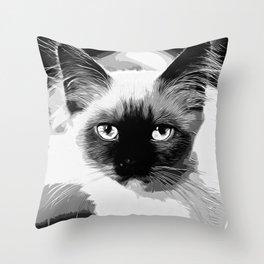 holy birma cat blue eyes vector art black white Throw Pillow