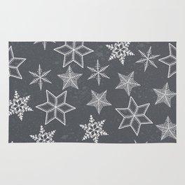 Snowflakes on grey background Rug