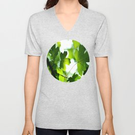 Green Baby Maple Leaves Round Photo Unisex V-Neck