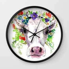 Cow and Flowers, Cow head floral Farm Wall Clock