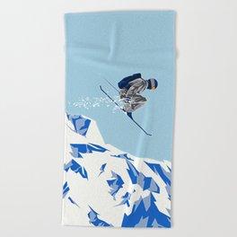 Airborn Skier Flying Down the Ski Slopes Beach Towel