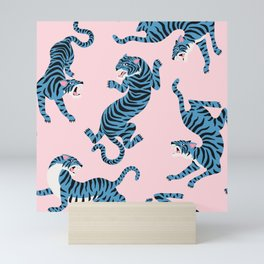Pastel Pink & Blue Tiger Pattern Mini Art Print