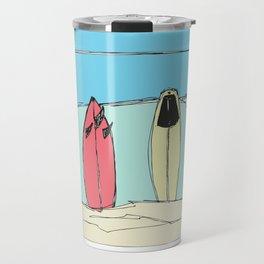 Boards on the beach Travel Mug
