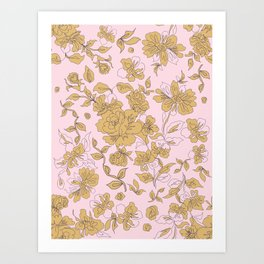 Mustard Pink Vintage Floral Art Print