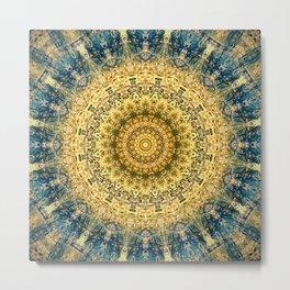 Antique Gold Blue Mandala Design Metal Print