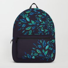 Blue Leaves Mandala Backpacks