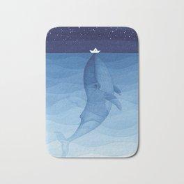 Whale blue ocean Bath Mat