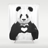 black Shower Curtains featuring All you need is love by Balazs Solti