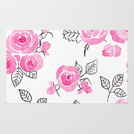 Pink watercolor roses pattern Rug