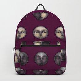 moon phases on dark purple Backpack