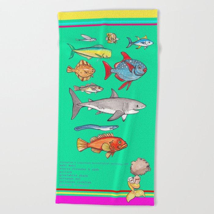 Green Mermaid Scientist Beach Towel Beach Towel