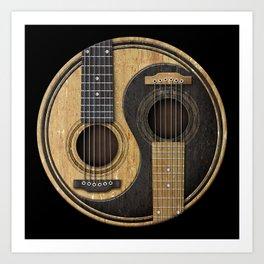 Aged Vintage Acoustic Guitars Yin Yang Art Print
