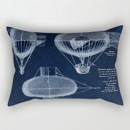 Antique Blueprint French Balloon Airship, Steampunk Rectangular Pillow