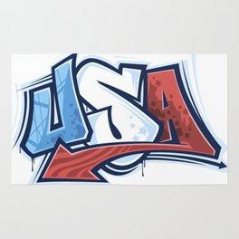 USA in Graffiti Rug
