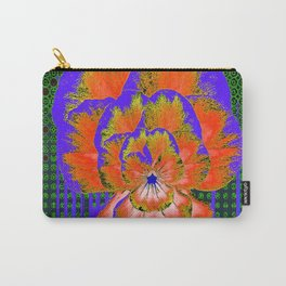 GREEN ABSTRACT MODERN ART PURPLE-ORANGE PANSY Carry-All Pouch