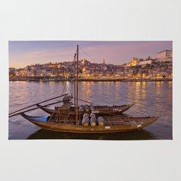 Port Wine barges, Porto at dusk Rug