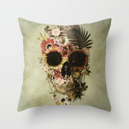 Garden Skull Light Throw Pillow