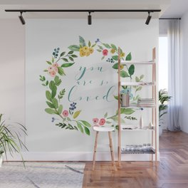 You Are So Loved floral wreath teal Wall Mural