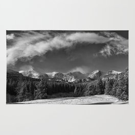 Rocky Mountan Park in Black and White Rug