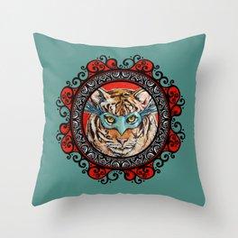 Masquerade Bengal Tiger Mandala Throw Pillow