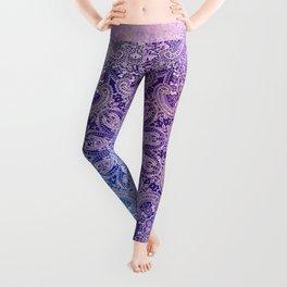 big paisley mandala in light purple Leggings