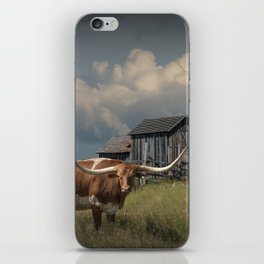 Longhorn Steer in a Prairie pasture by 1880 Town with Windmill and Old Gray Wooden Barn iPhone Skin