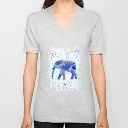 Blue Watercolor Elephant Unisex V-Neck