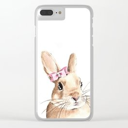 Bunny with a Pink Hair Bow. Watercolor Painting Clear iPhone Case