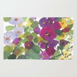 Purple Hollyhock Garden Rug