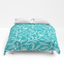 Aquamarine Lace Floral Comforters