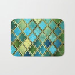Moroccan Quatrafoil Pattern, Vintage Stained Glass, Blue, Green and Gold Bath Mat