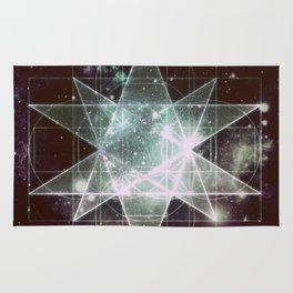 Galaxy Sacred Geometry : Stellated Icoshadron dark Rug