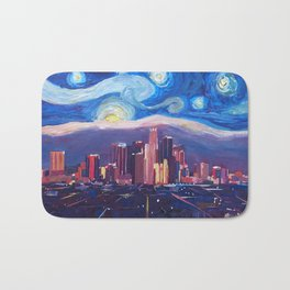Starry Night in Los Angeles - Van Gogh Inspirations with Skyline and Mountains Bath Mat