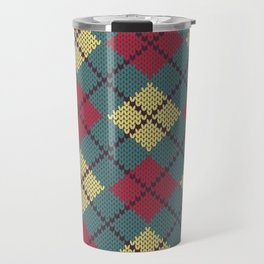 Faux Retro Argyle Knit Travel Mug